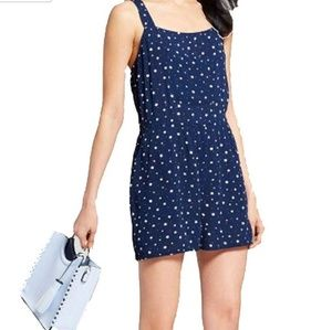 XHILARATION NWT Sleeveless Navy White Star Romper
